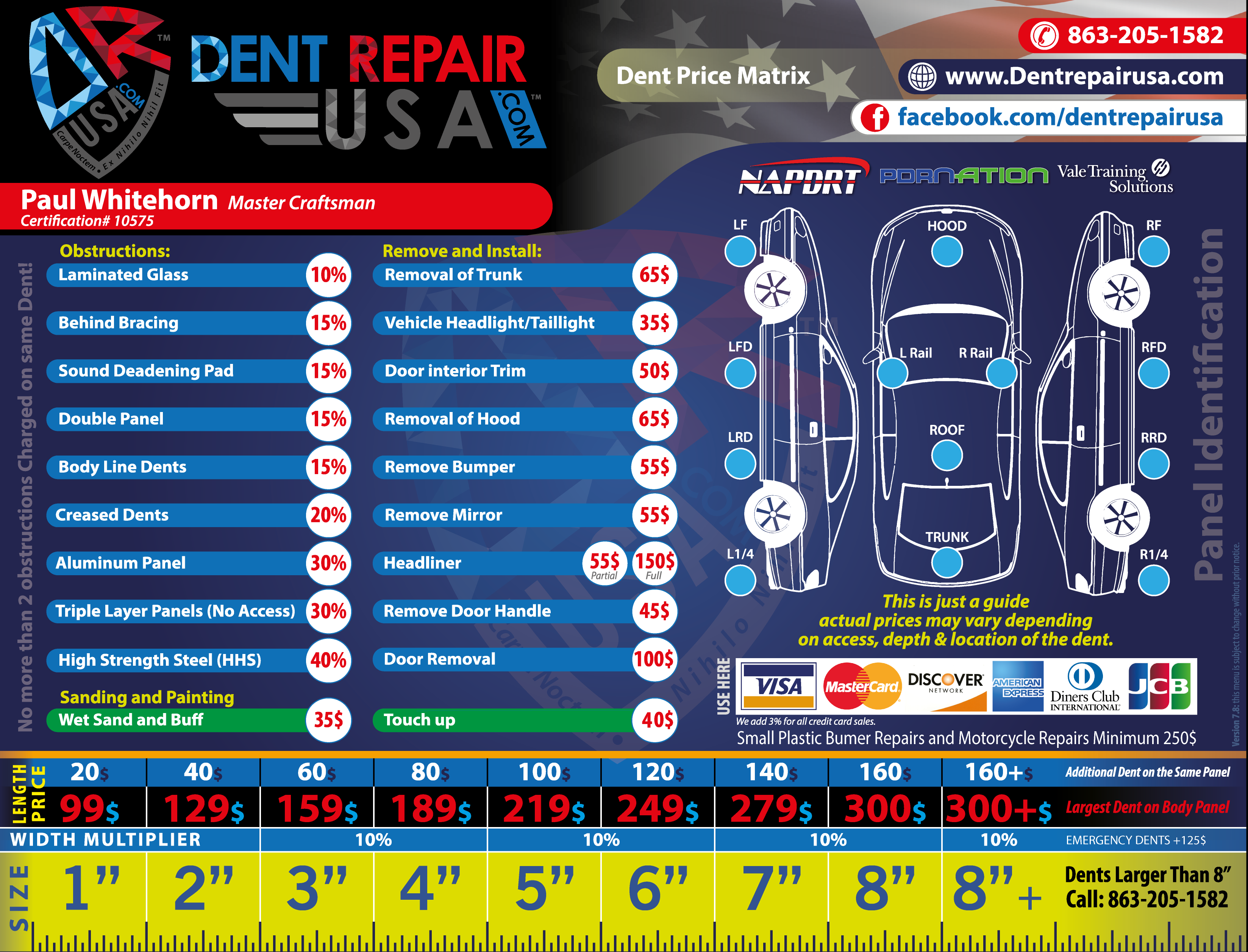 Dent Repair Pricing Menu